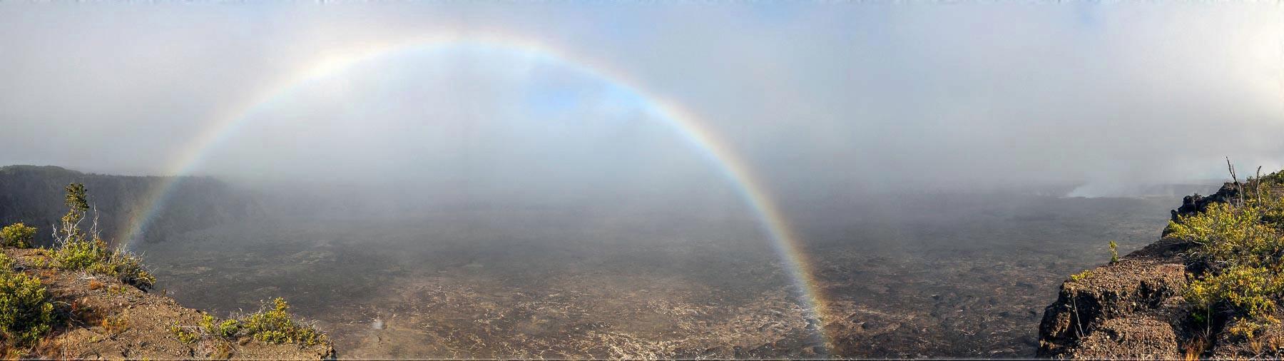 complete rainbow Kilauea Halema'uma'u Crater Hawaii