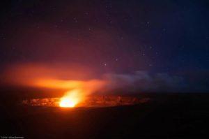 Kilauea Magma chamber glow Volcanoes Hawaii stars