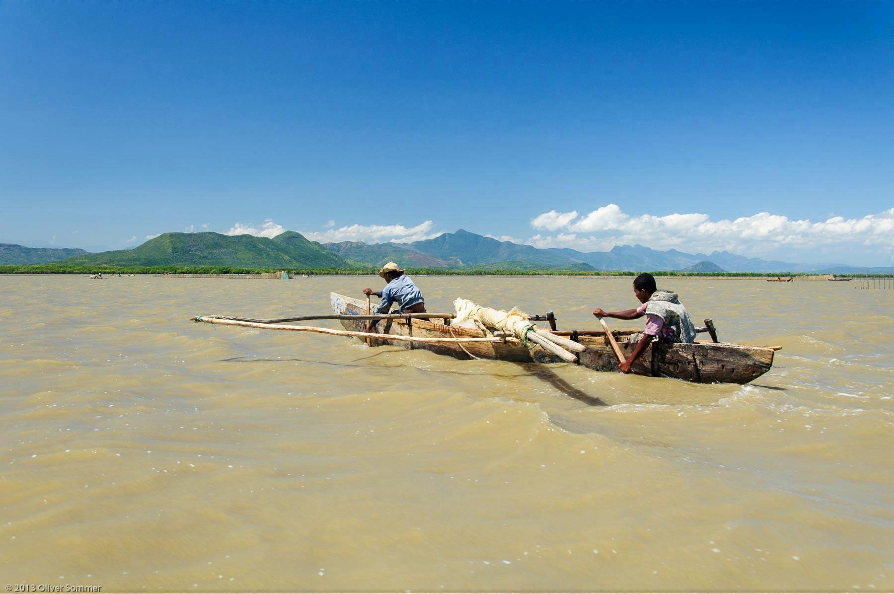 Traditional Dug-out canoe Fishermen Madagascar Mangroves