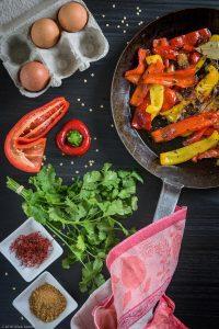 Bell Pepper, Cast-iron, Cilantro, Saffron, Za'atar